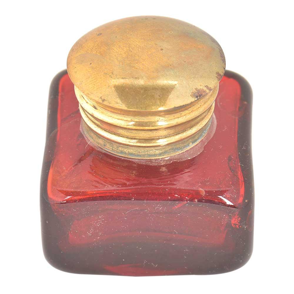 Red Rectangular Glass Ink Pot