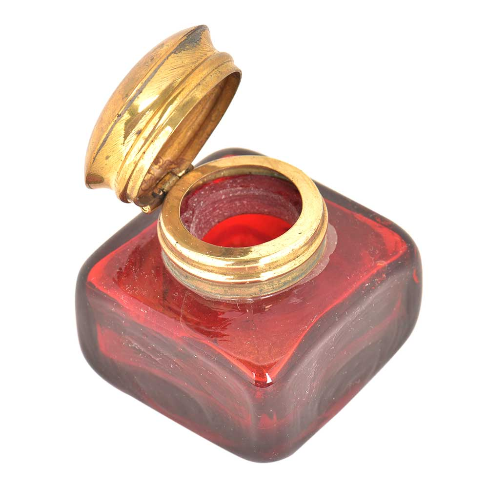 Red Rectangular Glass Ink Pot
