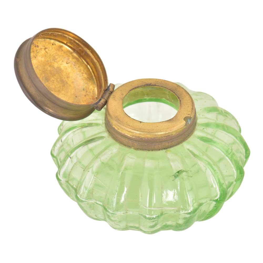 Vinatge Style Light Green Round Glass Ink Pot