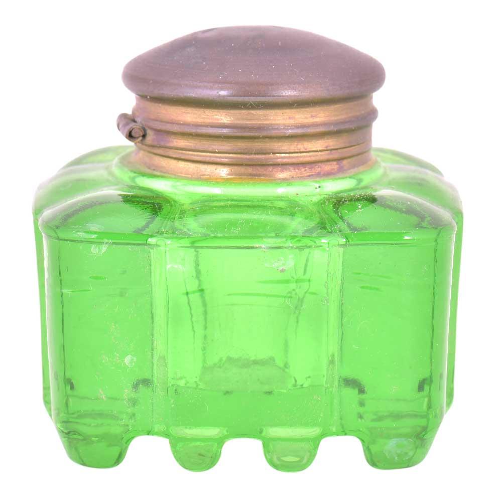 Green Rectangular Thick Glass Ink Pot