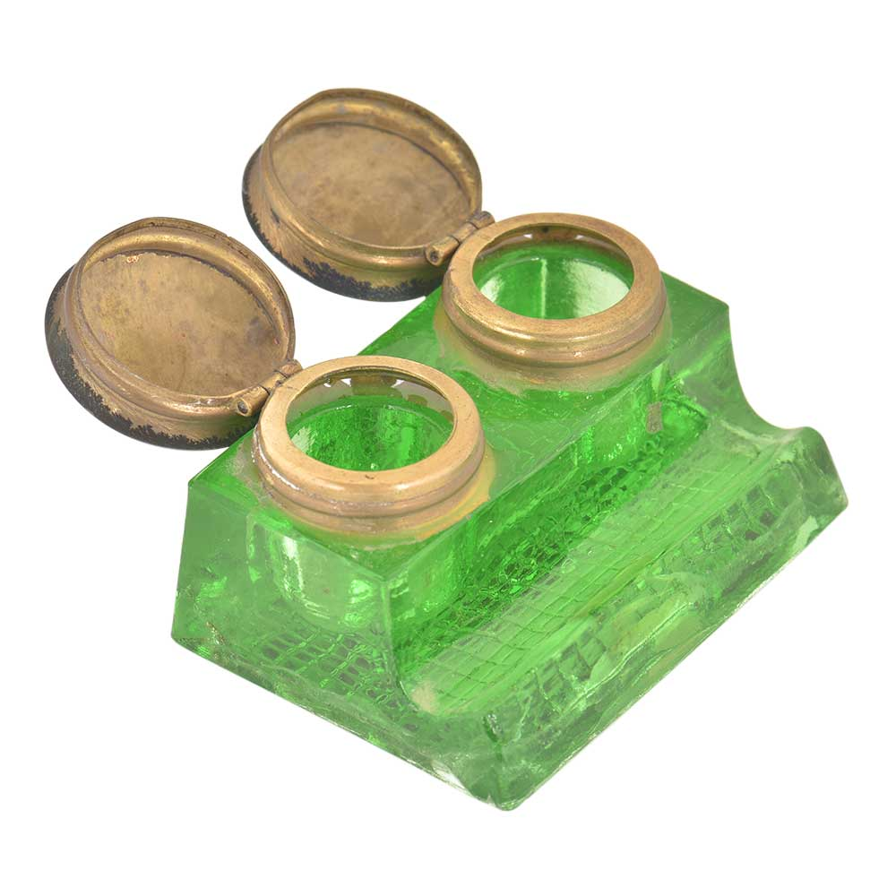 Green Glass 2 Ink Pot With A Pen Holder