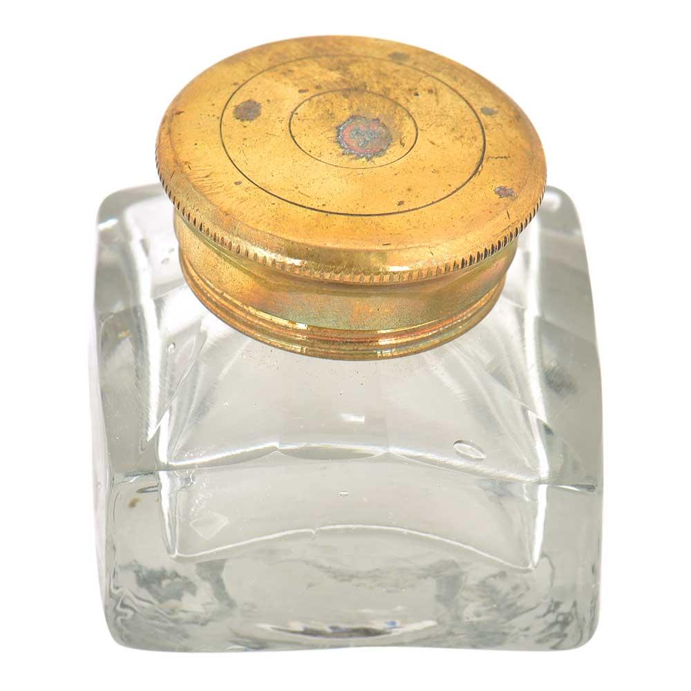 Vintage Clear Glass Rectangular Ink Pot