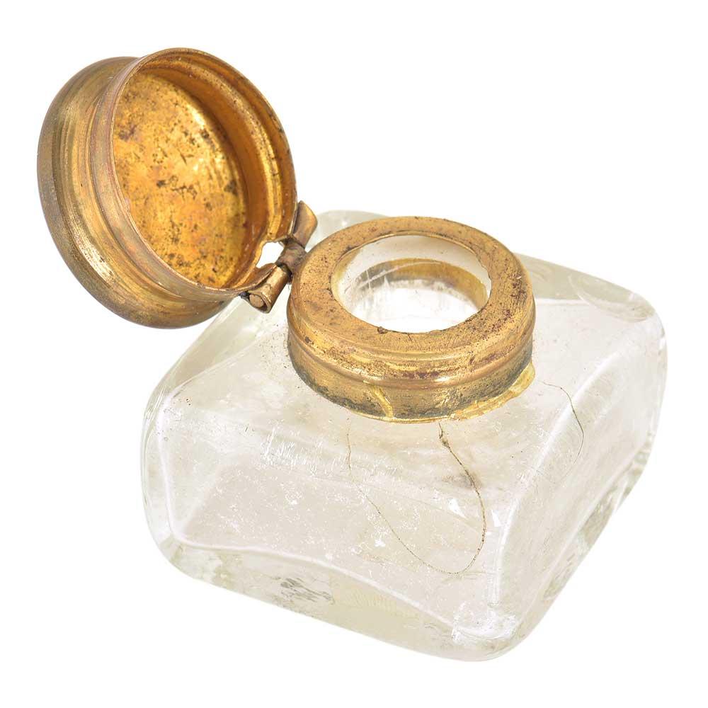 Vintage Glass Rectangular Ink Pot