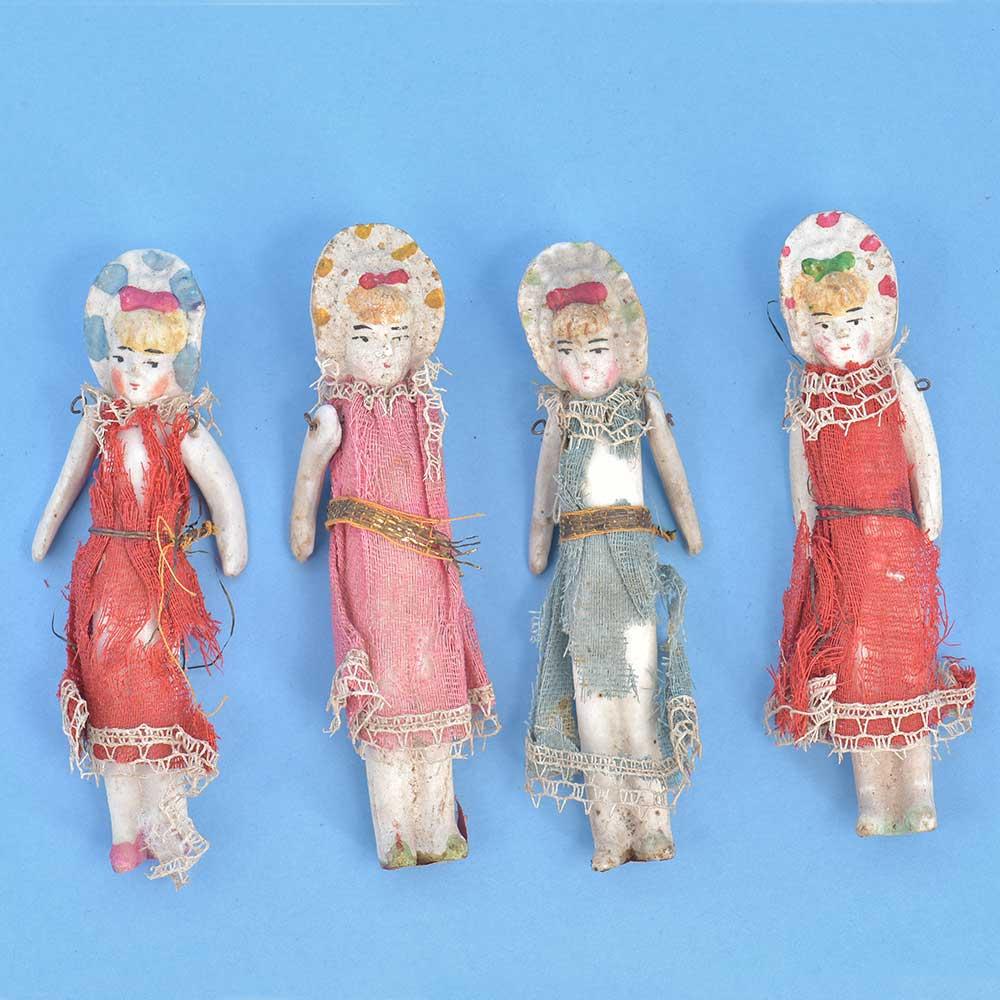 Vintage Handmade Porcelain DollsIn Set Of 4