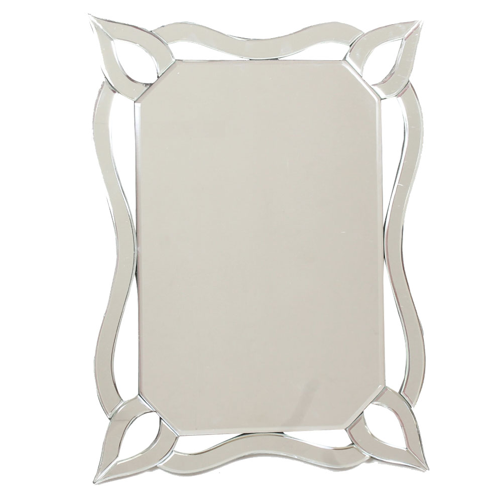 Rectangular Style Venetian Wall Mirror With Curved Edges