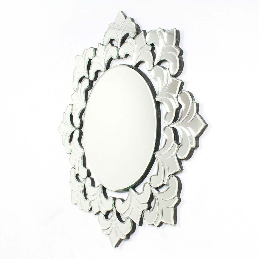 Circular Shaped Venetian Wall Mirror With Unique Borders