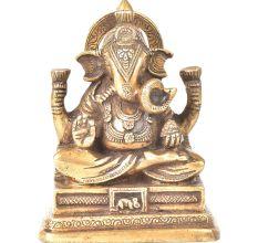 Brass Sitting Charbhuja Ganesha On a Raised Platform