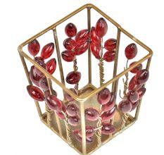 Rectangular Red Glass Bead Votive