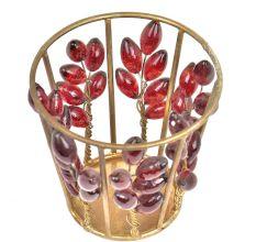 Circular Red Glass Bead Votive