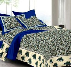 144 TC Cotton Double Bedsheet With 2 Pillow Covers - Blue