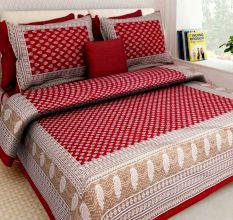 Cotton Double Bedsheet with 2 Pillow Covers - Red