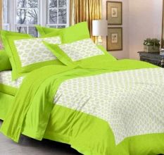 Cotton Double Bedsheet with 2 Pillow Covers - Green