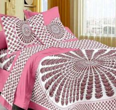 Cotton Double Bedsheet with 2 Pillow Covers - Pink