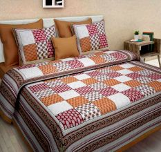 Cotton Double Bedsheet with 2 Pillow Covers - Brown