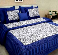 Cotton Double Bedsheet with 2 Pillow Covers - Blue