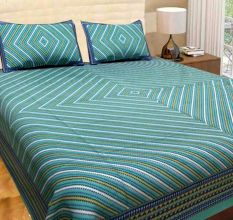 TC Cotton Double Bedsheet with 2 Pillow Covers - Green