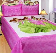 Cotton Double Bedsheet with 2 Pillow Covers King Size (100*100 Inches)- Pink