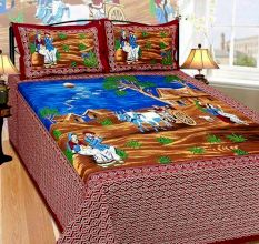 Cotton Double Bedsheet with 2 Pillow Covers King Size (Exclusive Rajasthani Print)- Maroon