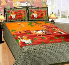 Cotton Double Bedsheet with 2 Pillow Covers King Size (Exclusive Rajasthani Print)- Green