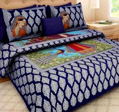 Cotton Double Bedsheet with 2 Pillow Covers King Size (Exclusive Rajasthani Print)- Blue