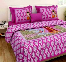 Cotton Double Bedsheet with 2 Pillow Covers King Size (Exclusive Rajasthani Print)- Pink