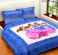 Cotton Double Bedsheet with 2 Pillow Covers King Size (100*100 Inches)- Blue