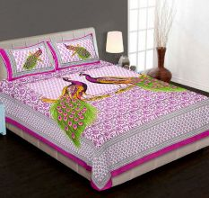 Cotton Double Bedsheet with 2 Pillow Covers King Size (Exclusive Peacock Design)- Pink
