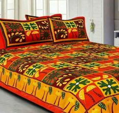 Katha Work Cotton Orange Embroided Double Bedsheet King Size with 2 Pillow Cover