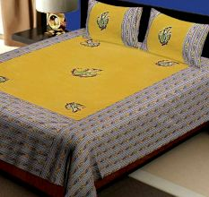 Katha Work Cotton Green Embroided Double Bedsheet King Size with 2 Pillow Cover