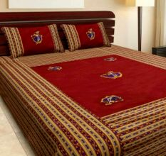 Katha Work Cotton Maroon Embroided Double Bedsheet King Size with 2 Pillow Cover