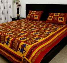 Katha Work Cotton Red Embroided Double Bedsheet King Size with 2 Pillow Cover