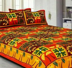 Katha Work Cotton Yellow Embroided Double Bedsheet King Size with 2 Pillow Cover