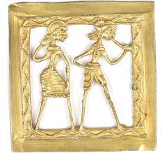 Framed Brass Dokra Musician With Dancer Wall Art