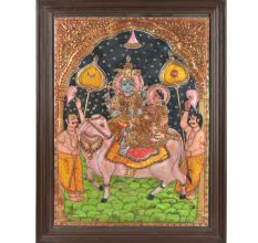 Shiva and Parvati on Nandi Tanjore Painting With  Wooden Frame