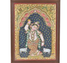 Lord Krishna Tanjore Painting with Frame