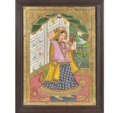 Tanjore Rajasthani Rani Painting With Frame