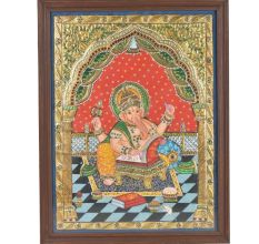God Of Wisdom Lord Ganesha Tanjore Painting  With Frame