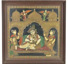 Krishan Shringar Tanjore Paintinng With Frame