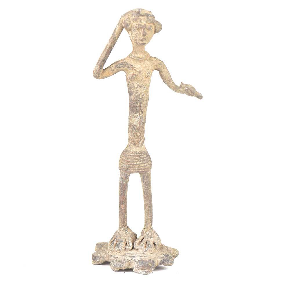Brass Tribal Man Dancing Figurine
