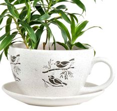 Bird On Branch Ceramic Cup Saucer Planter Pot