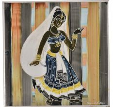 Ceramic Tile With A Dancing Lady