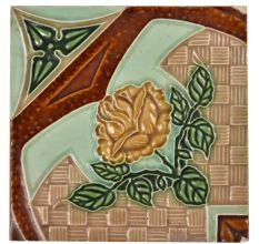 Vintage Ceramic Tile Flower Pattern
