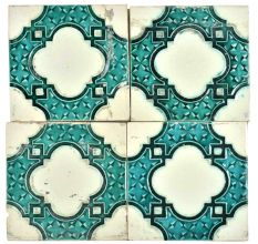 Blue Vintage Old Designer Ceramic Tile Set of 4
