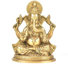 Brass 4 Handed Ganesha Statue