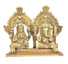 Brass Lakshmi & Ganesha Figurine With Owl & Mushak