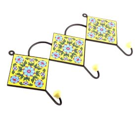 Yellow Turquoise Tiny Flower Ceramic Tiles Hooks
