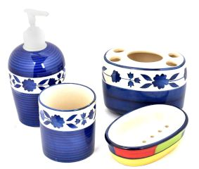 Blue Floral Border Ceramic Handpainted Bathroom Set of 4