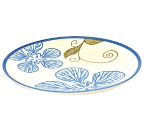 Handpainted Ceramic Floral Plates Set of 2