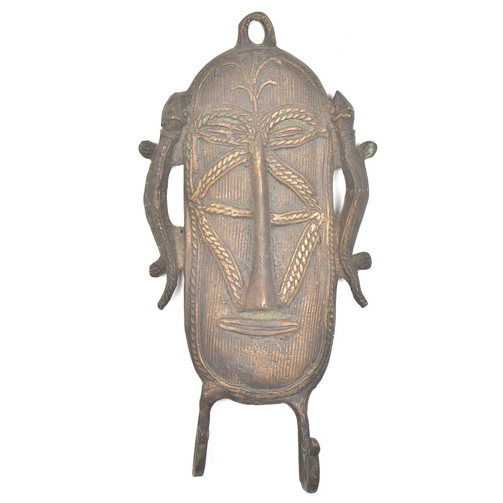 Unusual Copper Tribal Face Mask With Two Hooks