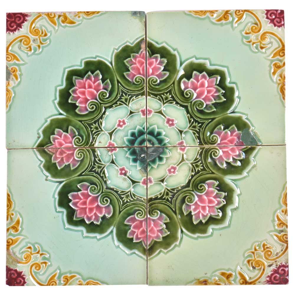 Lotus Border Backsplash Ceramic Wall Tile Set of 4